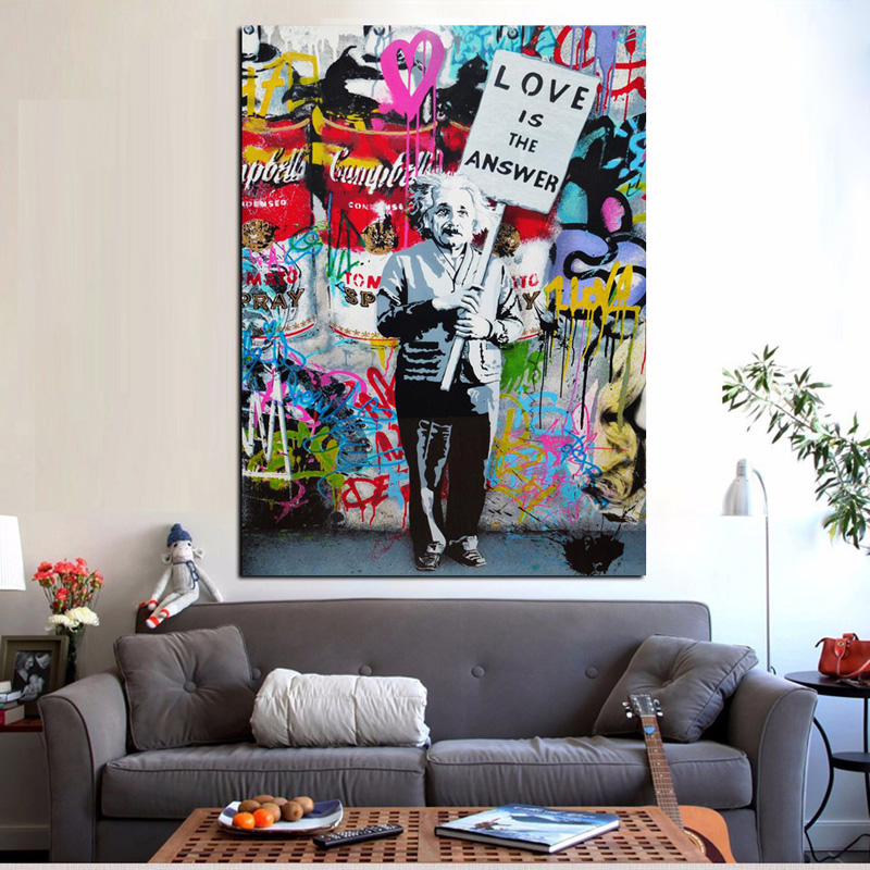 Big Size Print Street Graffiti Love Is The AnswerCanvas Painting Holding a Sign Poster Pop Art Wall Picture for Cuadros Decor