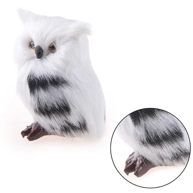 Kiwarm Cute Lovely Owl White Black Furry Christmas Bird Ornament Decoration Adornment Simulation 5*4.5*7cm for Home Decor Gift