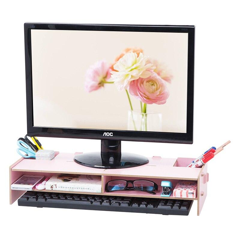 Wooden TV Raised Racks Living Room Desktop Storage Shelf Creative Bedroom  Computer Monitor Shelf(China