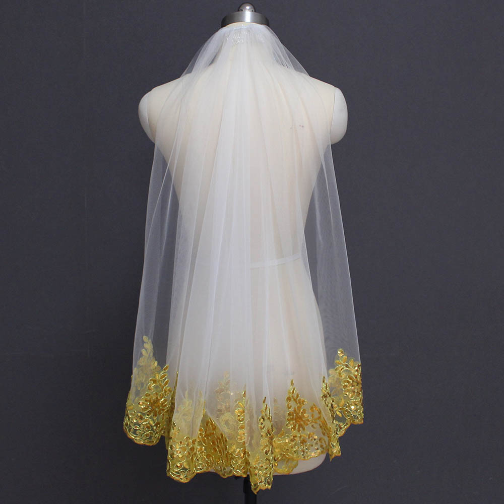 New Gold Lace White Ivory Tulle Short Wedding Veil With Comb Bling Sequins Lace One Layer Bridal Veil Voile De Mariee