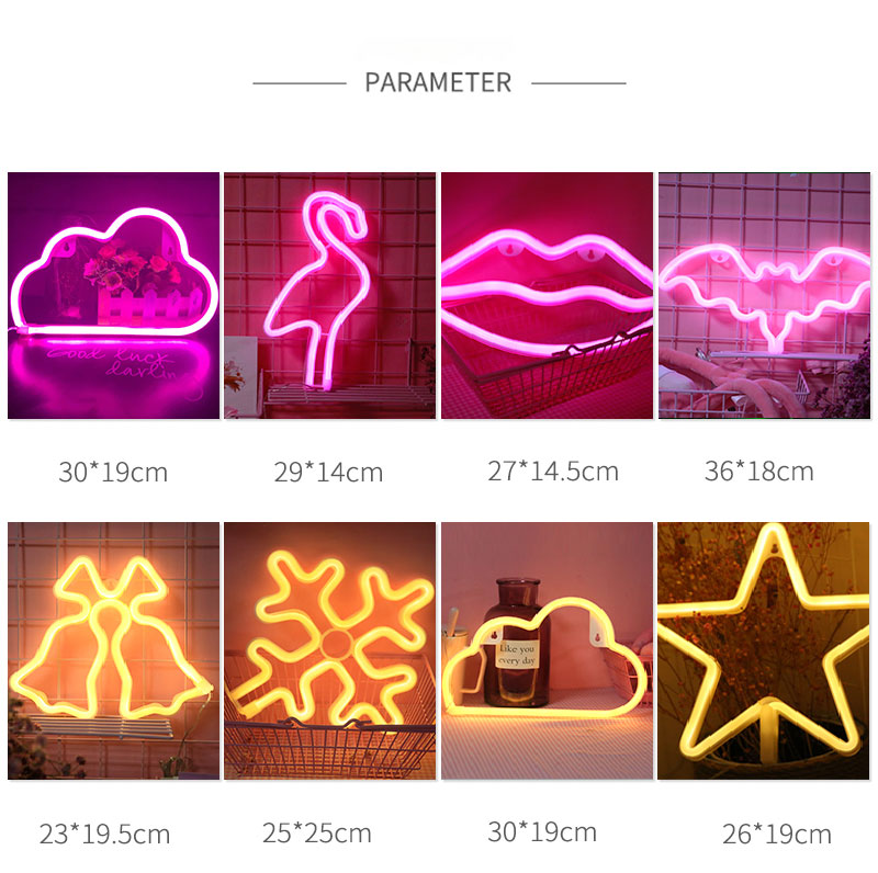 Cute LED Neon Sign Light Cloud Lips Moon Neon Light Holiday Party Wedding Decorations USB Night Lamp Home Decor Drop Shipping (3)