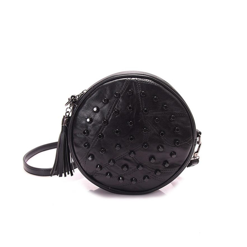 Small Round PU Leather Women Crossbody Bags Fashion Black Rivet Design Shoulder Bags Tassel Ladies Messenger Bag