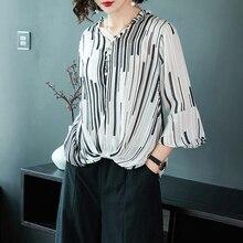 XL брендовые летние футболки из коллекции г. Для женщин пригородных ПР футболка новая мода полосатый v-образным вырезом шифоновая Футболка свободная Труба рукавом блузка из шифона Для женщин