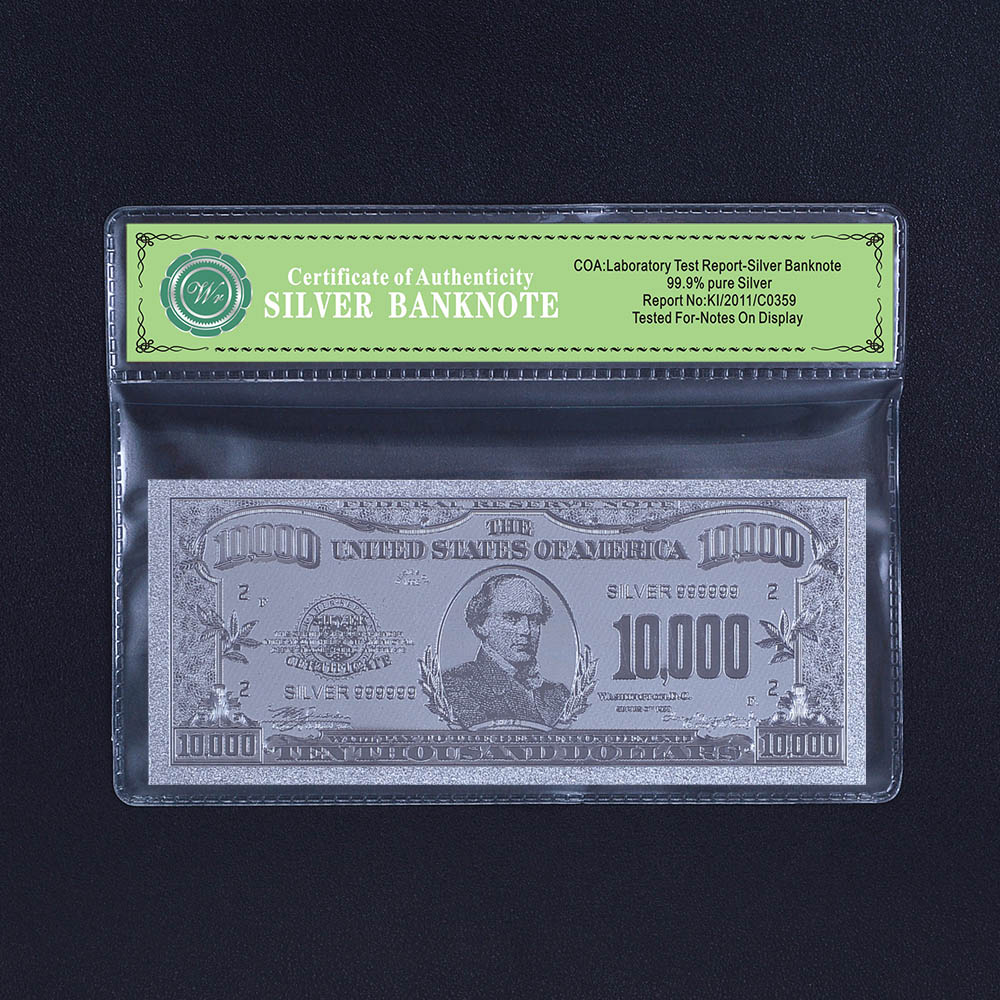 us currency silver plated paper money 10 thousand dollar bill with plastic frame in gold banknotes from home garden on aliexpresscom alibaba group - Dollar Bill Frame