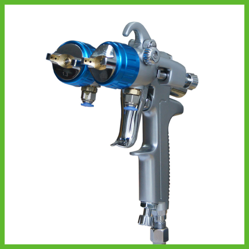 SAT1189 free shipping nano chrome painting high pressure dual head pneumatic sprayer pneumatic tool double nozzle spray gun