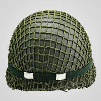 SET WWII US ARMY M1 HELMET +COVER COTTON CAMOUFLAGE NET GREEN +OD Cotton Strap - DISCOUNT ITEM  11% OFF Sports & Entertainment
