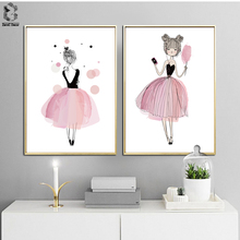 Watercolor Pink Girls Canvas Art Print Painting Poster, Wall Pictures for Home Decoration Wall Art Decor