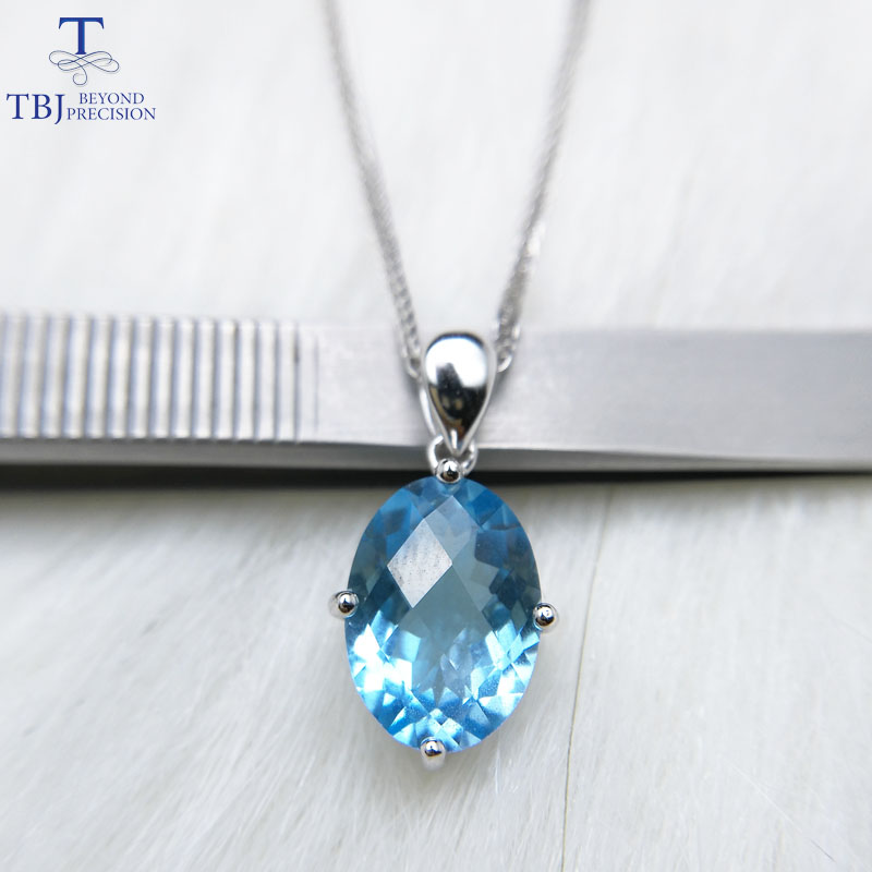 TBJ,Single Big natural sky blue topaz oval checkerboard cutting 10*14mm 6.5ct gemstone pendant in 925 sterling silver jewelryTBJ,Single Big natural sky blue topaz oval checkerboard cutting 10*14mm 6.5ct gemstone pendant in 925 sterling silver jewelry