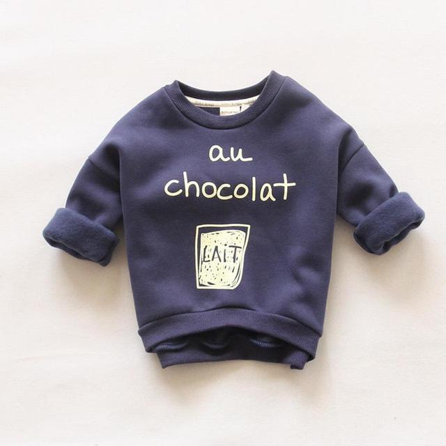 С длинным рукавом Детский свитер для Обувь для мальчиков Обувь для девочек хлопок Повседневное Демисезонный детские Кофты с принтом букв теплая tollders Топы корректирующие