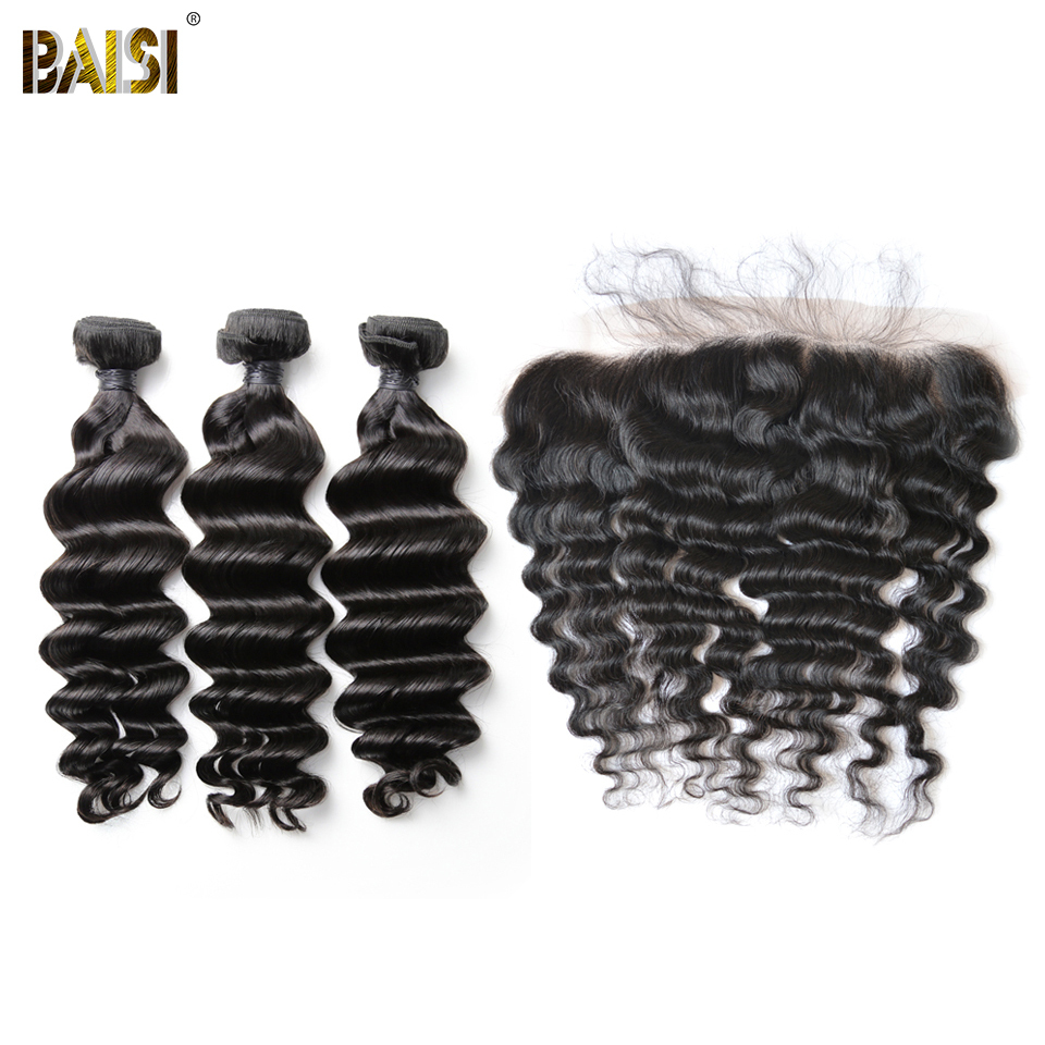 BAISI Hair Brazilian Natural Wave 8A Virgin Hair Weave 3 Bundles with 13x4 Lace Frontal 100