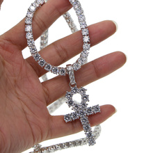 silver color bling bling jewelry hip hop Egyptian Ankh Key Of Life cross Pendant Necklaces Cubic Zirconia long necklace