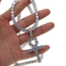 silver color bling bling jewelry hip hop Egyptian Ankh Key Of Life cross Pendant Necklaces Cubic Zirconia long necklace(China)