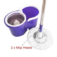 PREUP 360 Rolling Magic Floor Spin Mop Hands free Spin Mop Bucket Set Foot Pedal Rotating Floor Mop with 2 Microfiber Mop Heads