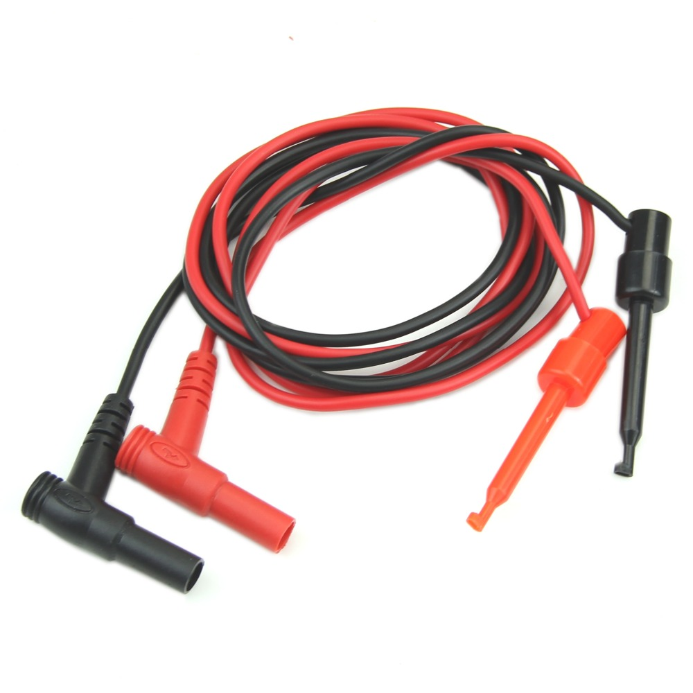 цена на OOTDTY 1Pair Black and Red Silicone Banana Plug To Test Hook Clip Probe Cable Fr Multimeter Test Equipment
