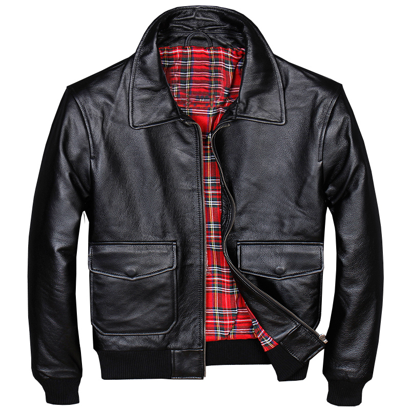 Coats Bomber-Jackets Automotive Air-Force Real-Cow-Leather Flight Mens Male Short Plaid