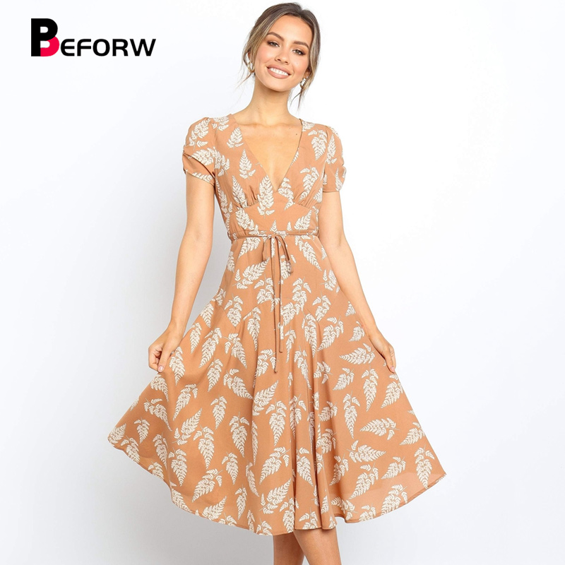 BEFORW 2019 New Sexy V Neck Leaves Print Mid Calf Dress Women Short Sleeve Summer Casual Dresses Ladies Sashes Beach Dress in Dresses from Women 39 s Clothing