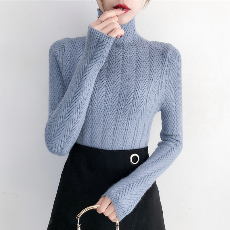 Image 2 - Underwear Woman Autumn and Winter 2019 New sweater Slim Bottom Shirt Long Sleeve Tight Knitted Shirt Thickening-in Pullovers from Women's Clothing