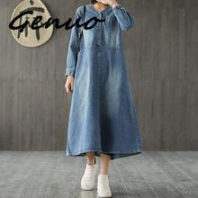 Genuo 2019 New Style Casual Cotton v-neck Loose Plus Size Denim Dress Female Spring Long Sleeve  Ladies Demin