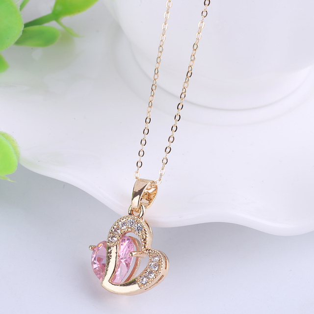 Rose austrian crystals double heart pendant necklace for valentines rose austrian crystals double heart pendant necklace for valentines day gift of love pink stone charms mozeypictures Image collections