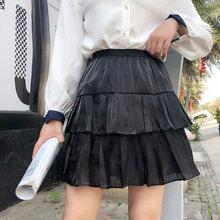 Summer 2019 Plus Size Kawaii Vintage Style Women Elastic Waist High White Layered Satin Skirts Black Short Tutu Skirt