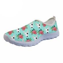 NOISYDESIGNS Cute Bull Terrier Print Women Summer flat Shoes Animal Dog Casual Sneakers Breathable Mesh Beach Shoe Woman