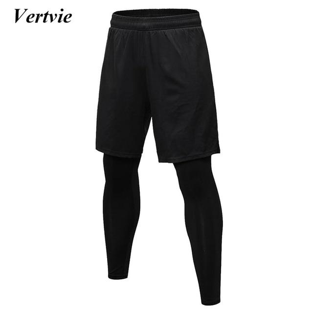 6ea5bf4a Vertvie Black Skinny Running Pants 2 Piece Men Running Pants Set Training  Professional Gym Shorts+