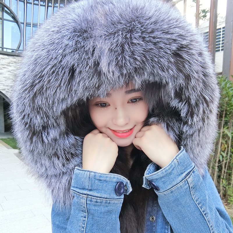 MAO MAO KONG 2017 Women's fashion dark blue denim 100% true raccoon fur collar  fox fur short jacket coat napapijri guji check dark blue