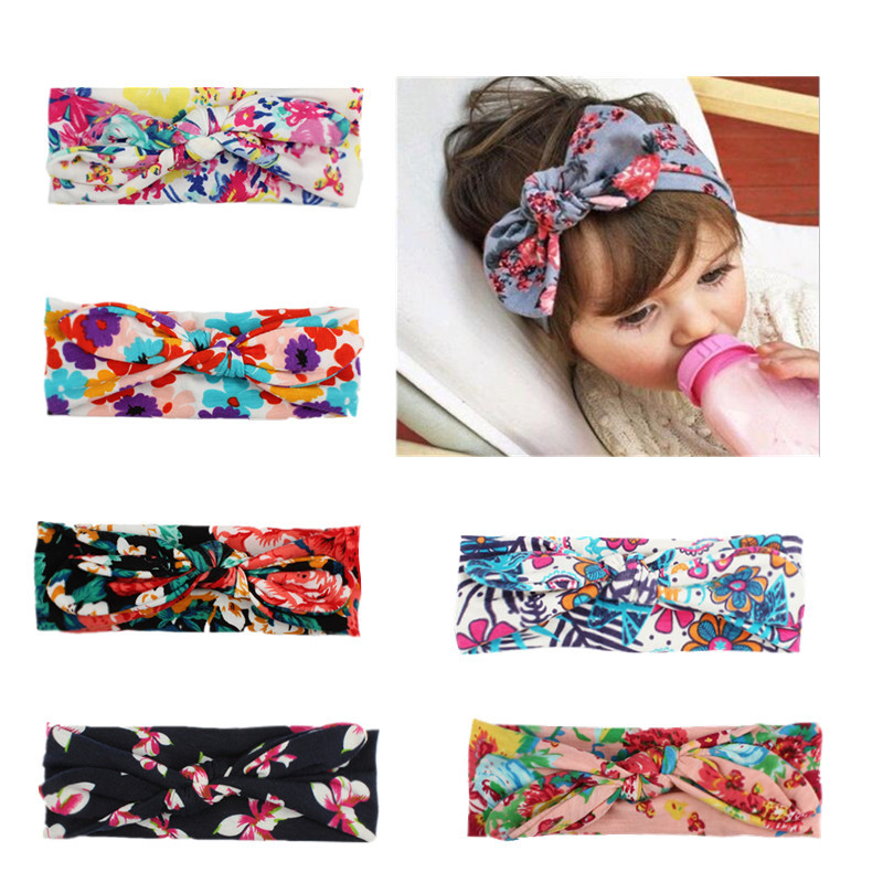 European Spring/Summer Floral Cotton Infantile Bow Headband Hot-sale Elastic Kids Girl DIY Hair Accessories For Party