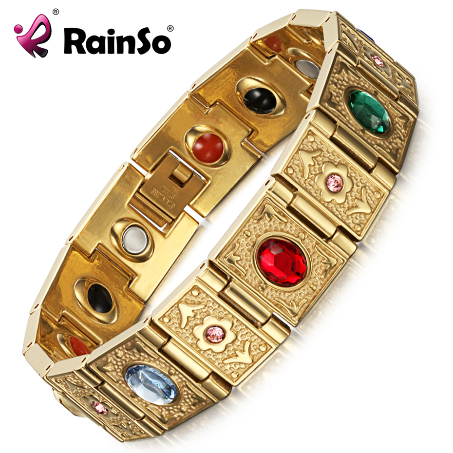 Rainso Rustfrit Stål Bio Energi Armbånd Fashion Health FIR Bangle Magnetiske Smykker Armbånd For Dame Dropshipping