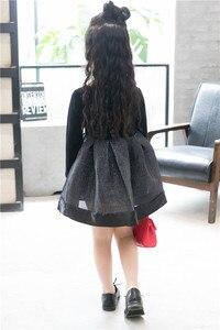 Image 5 - 2018 אביב אופנה ילדה נסיכת שמלת מסיבת חתונה שמלות ילד קוריאני שחור Shoulderles ארוך שרוולים רשת נסיכת שמלת 2 7Y