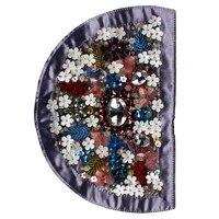 2 pièces Fleur Patches Semi-Circulaire Conception Perlée Sequin Strass Tissu Patches Sacs Décoré Applique Craft Couture TH761
