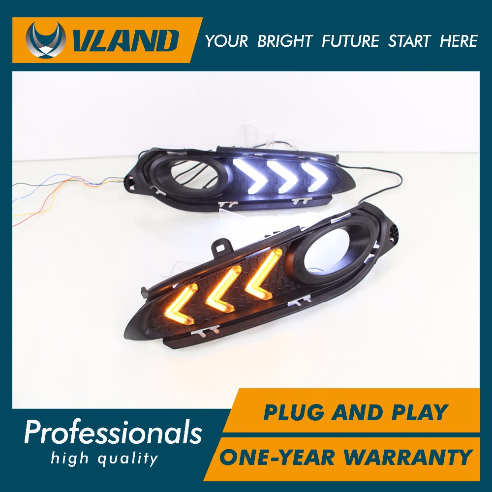 Vland factory for car fog lamp for Vezel DRL 2014 2015 2016 for HRV led Daytime Running Lights With Yellow Turning signal light guangdian new car lights drl daytime running light daylight yellow turning signal auto led fog lamp for suzuki vitara 2015 2016
