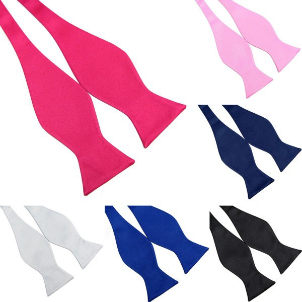 Multi-Colors Vogue Mens Bowties Solid Color Plain Silk Self Tie Bow Ties Hot