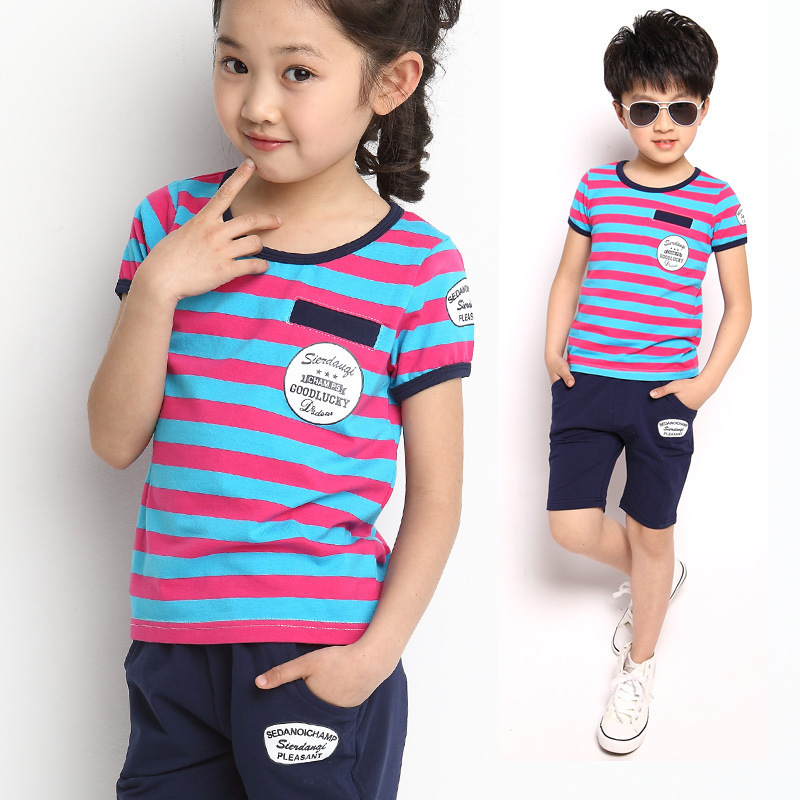 2014 New 95% Cotton Summer Children's Short Sleeve Striped T-Shirt Pants Two Sets, Girl Boy Sport Clothing Suit Kids Pajamas