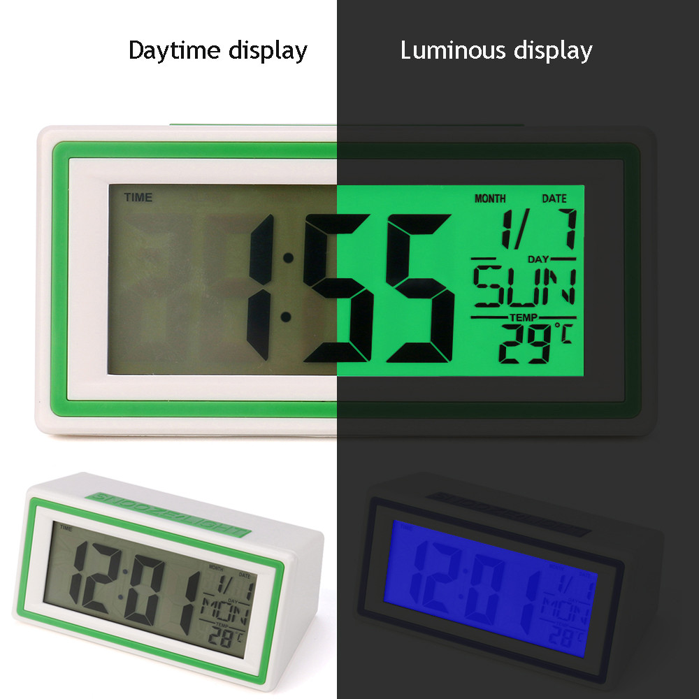 2 Colors Digital Backlight LED Display Table Alarm Clock Snooze Thermometer Calendar F911