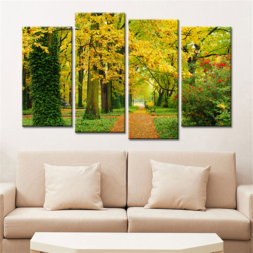 4 Panels Landscape Autumn Trees Maple Leaf Modern Wall Painting Home ...