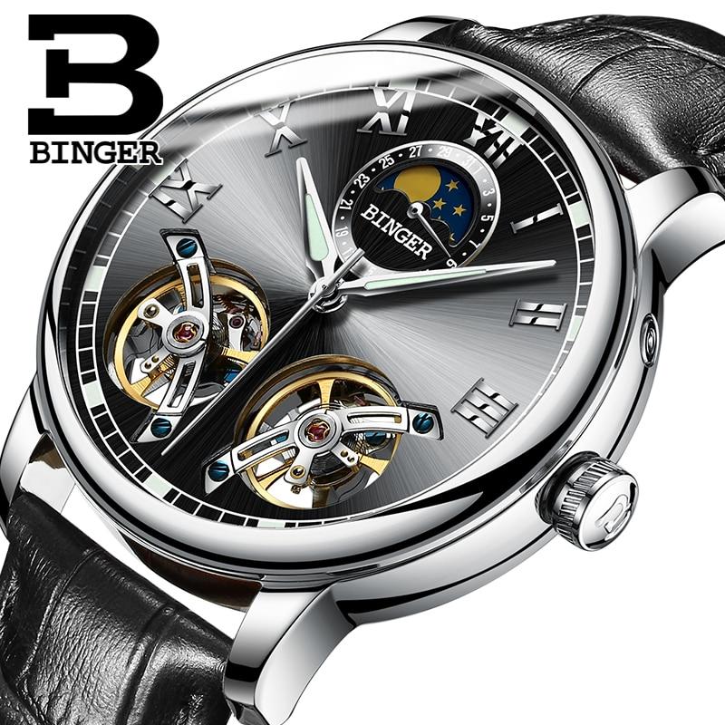 Switzerland Double tourbillon Skeleton Luminous Mens Leather Watchband Automatic Self Wind Mechanical Watch Wristwatch BINGER|binger mechanical|binger automatic|binger men - title=