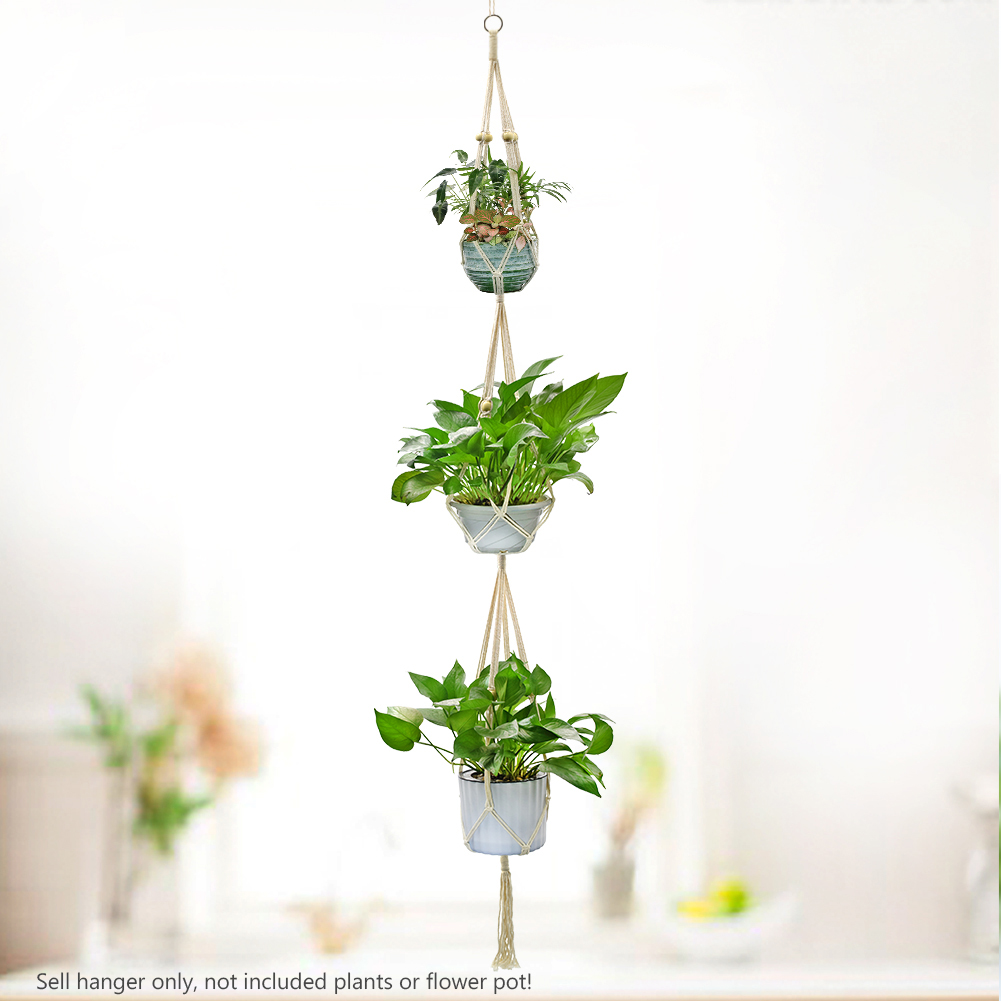 Knotted Macrame Plant Hanger Hook Vintage Cotton Line Hanging Basket Lifting Rope Flowerpot Pot Holder Garden Decoration