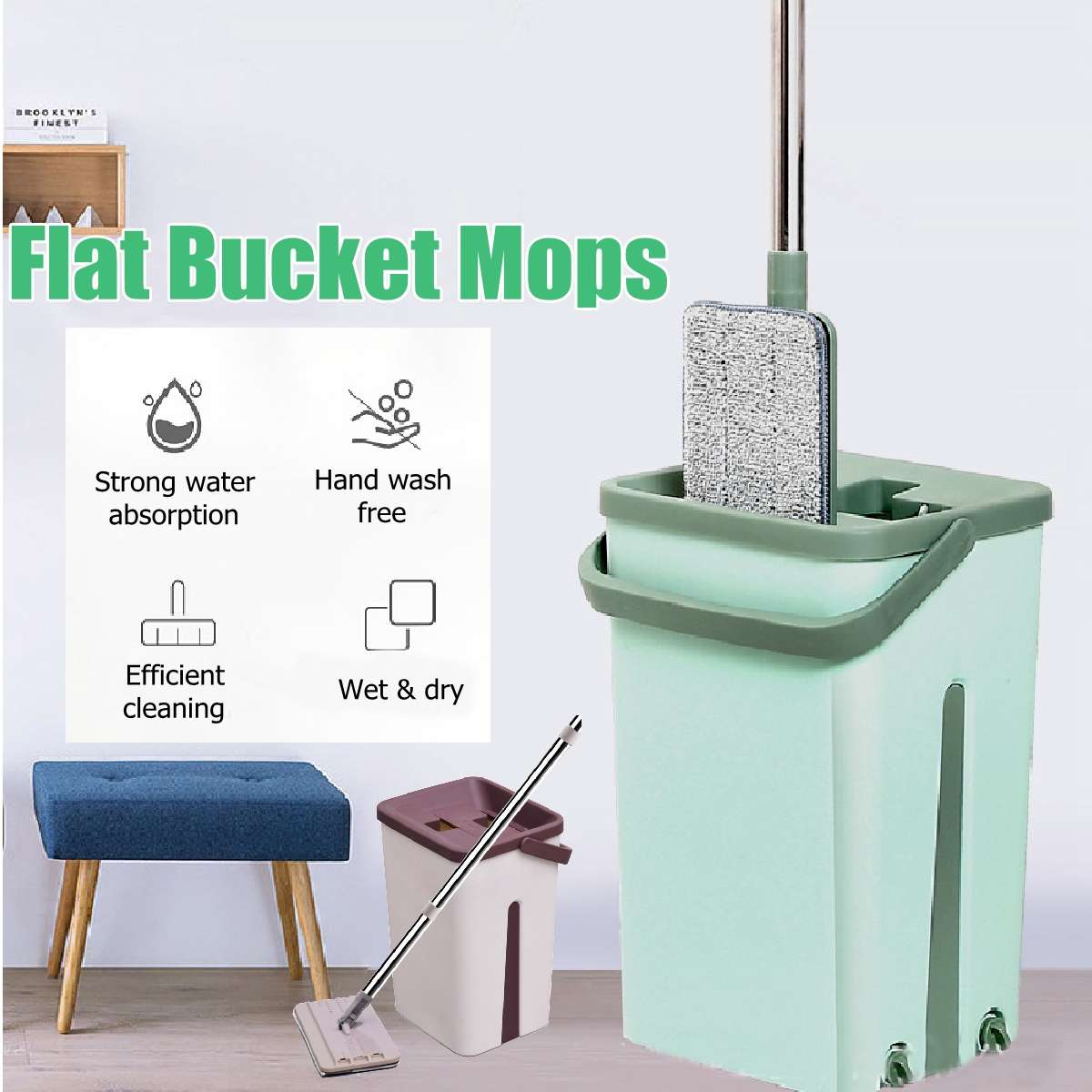Flat Squeeze Mop Bucket Hand Free Wringing Stainless Steel Mop Self Wet And Cleaning System Dry Cleaning Microfiber Mop Floor