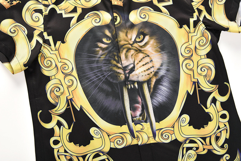 4373e9f312b1 ... EDSON ARANTES Summer Shirts Men Korean Shirt Short Sleeve Men s Tiger  Prints Button Down Casual Slim ...