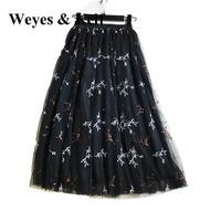 Weyes и кепф сладкий Самме блесток Вышивка длинные Тюлевая юбка для Для женщин 2018 элегантные весенние эластичный пояс юбки Слои юбка