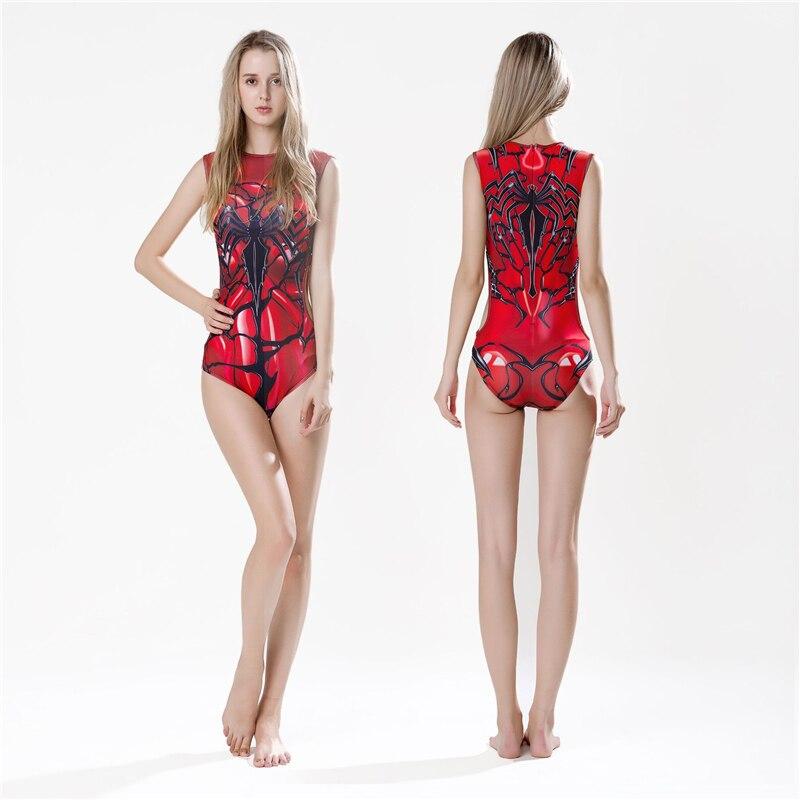 New Anime Fashion Clown Poison Spiderman Steel Spiderman Venom Women's Summer Chest Pad Women's Sexy Swimwear