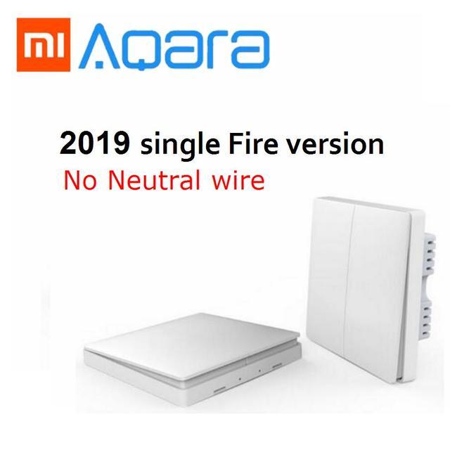 2019 Xiaomi Aqara interruptor de pared inalámbrica Zigbee llave de interruptor luz inteligente de Control de fuego No Neutral por mi jia mi casa APP