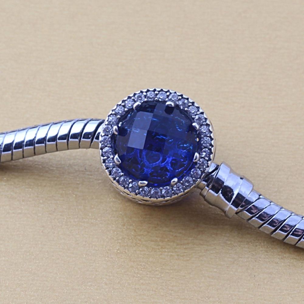 Prix pour ZMZY Collection D'origine Radiant Coeurs Charm Convient Pandora Bracelets 925 Sterling Argent Royal Bleu Crystal Clear CZ