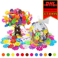 DHL 2000pcs Snowflake Building Blocks Colorful DIY Bricks Compatible Model Kit Classic Educational Toy For Children
