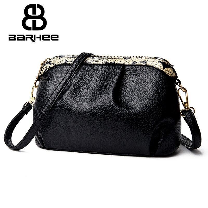 BARHEE léto malé Ruched klapka PU kůže ženy Messenger taška vysoce kvalitní ženy popruhy tašky černá Shell Crossbody taška pro dívky