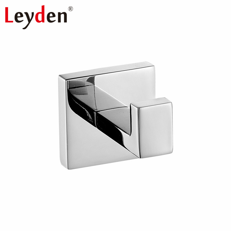 Leyden High Quality Single Towel Hook Clothes Hook Square 304 SUS Stainless Steel Wall Mount Chrome Finish Clothes Hanger Holder