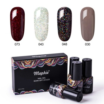 Maphie 4Pcs/Lot Red Color Nail Gel Polish Set With Box Shiny Glitter Led Nail Lacquer Varnish Soak Off Sequins Led Hybrid Gel