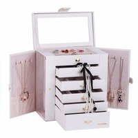 White Large Fashion Luxury Jewelry Box 6 Layers Mirrored Handle Cabinet Armoire Rings Bracelets Necklace Packaging