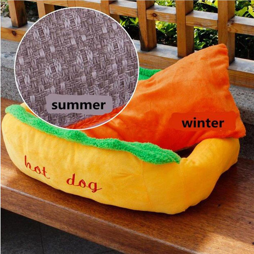 Pet Hot Dog Design Pet Dog Bed,Soft Removable and Washable Pet Mat Dog House Dot Small Pet Animal Small Dog Bed